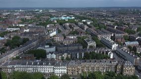 Time lapse aerial of shadows going over terrace houses Liverpool. Aerial Time lapse as shadows go over old buildinds stock footage