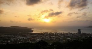 Aerial time lapse of a beautiful sunset at Phuket city, Thailand. stock footage