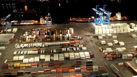 Aerial Time Lapse of busy Shipping Port stock video