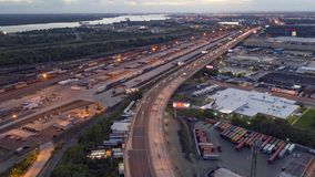 Aerial Time Lapse of Cars on Highway stock footage
