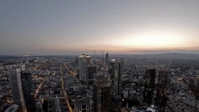 Aerial Time Lapse Of The Frankfurt Main Skyline And Construction Site A Skyscraper During
