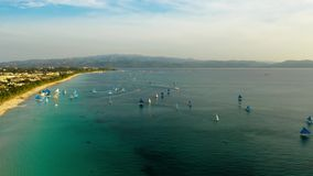 Tropical beach and sailing boats, Boracay, Philippines. Time lapse stock video