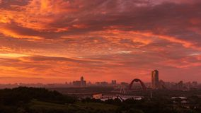 Aerial timelapse sunset sky Moscow city stock video footage