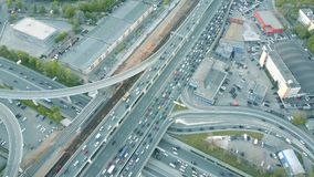 Aerial time lapse. Traffic jam on a car road in the rush hour Royalty Free Stock Image