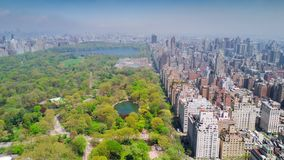 Aerial view of Central Park, Upper East and West Side Manhattan and Midtown Manhattan, New York, USA. Aerial timelapse dronelapse view of Central Park, Upper stock video
