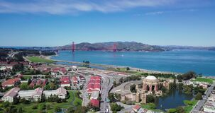 Aerial timelapse pan view of the Palace of Fine Arts