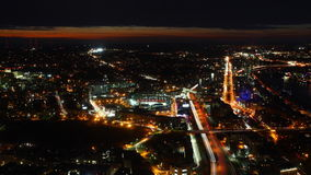 Aerial timelapse view of the Boston Skyline at sunset stock video