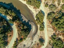 Aerial: The Tip of the Lexington Reservoir Reaching Up Soda Springs Canyon stock photos
