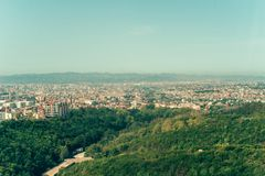 Aerial Tirana, Albania,. Aerial view to Tirana countryside old and new buildings. View from mountain Dajti Royalty Free Stock Image