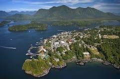 Aerial of Tofino, Long Beach, BC. Aerial of Tofino, Long Beach, west coast Vancouver Island, BC, Canada stock image