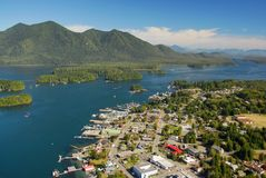 Aerial of Tofino, Long Beach, BC. Aerial of Tofino, Long Beach, west coast Vancouver Island, BC, Canada royalty free stock photo
