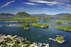 Aerial of Tofino, Vancouver Island, BC, Canada. Aerial of resort town and fishing village Tofino, Long Beach, Pacific Rim, Vancouver Island, BC, Canada stock photography