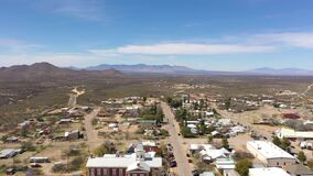 Aerial of Tombstone in Arizona during bright day