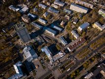 Aerial top city stock photo