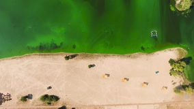 Aerial top down of empty beach half sand half green water polluted with algae. Environmental problems, ecology and nature stock video