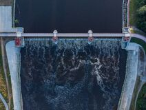 Free Aerial Top Down Look To Bridge With Water Dam Stock Photography - 202185572