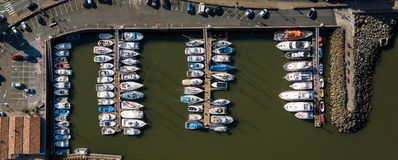 Aerial top down picture of marina a dock basin and boats royalty free stock photo