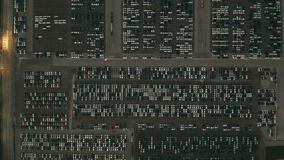 Aerial top down shot of a huge automotive factory new cars parking lot. Aerial top down shot of a big factory cars storage stock illustration