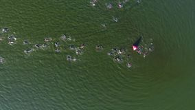 Aerial top down of swimmers detouring red buoy during triathlon race. Athletes take part in long distance competition. healthy lifestyle, extreme sports and stock video