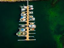 Top view. Boats in port marina