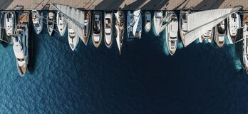 Free Aerial Top-down View Of Docked Sailboats Royalty Free Stock Photography - 199275077