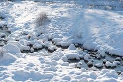 Aerial top down view over frozen river in winter season Stock Photos