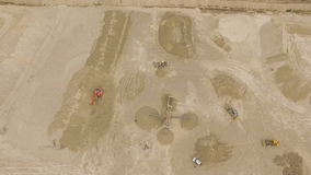 Aerial top-down view of sand quarry stock video footage
