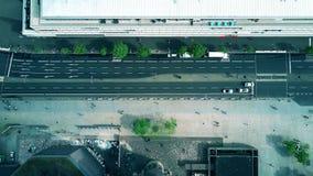 Aerial top down view of a street in Berlin, Germany. Aerial top down view of a street in Berlin stock footage