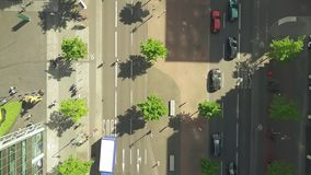 Aerial top down view of a street in the center of Berlin, Germany. Aerial top down view of a street in Berlin stock video footage