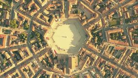 Aerial top down view of tiled roofs of symmetric Palmanova town, Italy. Aerial top down view of the hexagonal square in the center of Palmanova Royalty Free Stock Photo