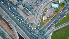 Aerial top down view of traffic jam on a city car road in the rush hour Stock Photography