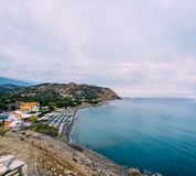Aerial Top Panorama view of Aghia Galini beach at Crete island in Greece. South coast of the Libyan sea. royalty free stock photography