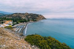 Aerial Top Panorama view of Aghia Galini beach at Crete island in Greece. South coast of the Libyan sea. stock image