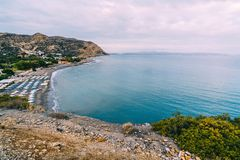 Aerial Top Panorama view of Aghia Galini beach at Crete island in Greece. South coast of the Libyan sea. stock photography