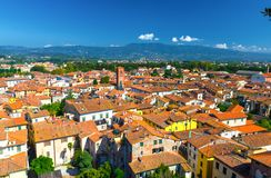 Aerial top panoramic view of historical centre medieval town Lucca stock photos