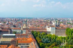Aerial top panoramic view of Turin city historical centre stock image