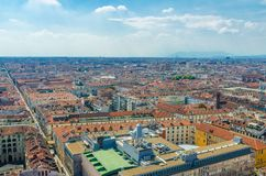 Aerial top panoramic view of Turin Torino city historical centre stock photos