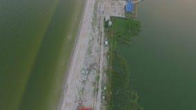 Aerial top shot of the coastline. stock footage
