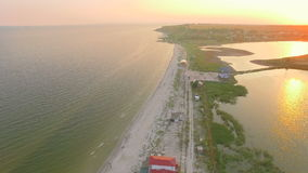 Aerial top shot of the coastline. stock video footage