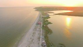 Aerial top shot of the coastline. stock video