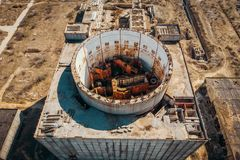 Aerial top view of abandoned and ruined Nuclear Power Plant in Shelkino, Crimea. Large USSR industrial construction stock photography
