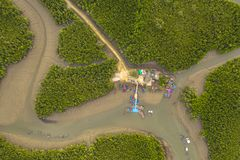 Aerial top view Baan Hinrom pier in mangrove forest. At Samed Nangshe archipelago in Phang Nga Thailand royalty free stock photography