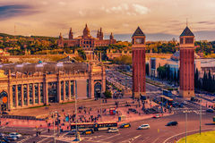 Aerial top view of Barcelona, Catalonia, Spain. The Palau National, National Palace, National Art Museum of Catalonia Stock Photography