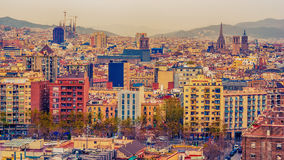 Aerial top view of Barcelona, Catalonia, Spain Stock Image