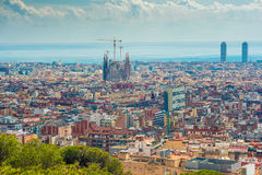 Aerial top view of Barcelona, Catalonia, Spain Royalty Free Stock Image