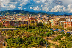 Aerial top view of Barcelona, Catalonia, Spain Stock Photos