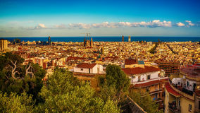 Aerial top view of Barcelona, Catalonia, Spain Royalty Free Stock Photos