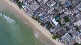 Aerial top view of beach in china small town in Hainan in China. Aerial top view of beach in china small town in Hainan, China stock photos
