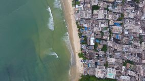 Aerial top view of beach in china small town in Hainan in China. Aerial top view of beach in china small town in Hainan, China royalty free stock photos