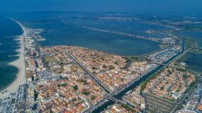 Aerial top view of beach resort town on Mediterranean sea from above, vacation and holiday destination in France. Aerial top view of beach resort town on stock photo